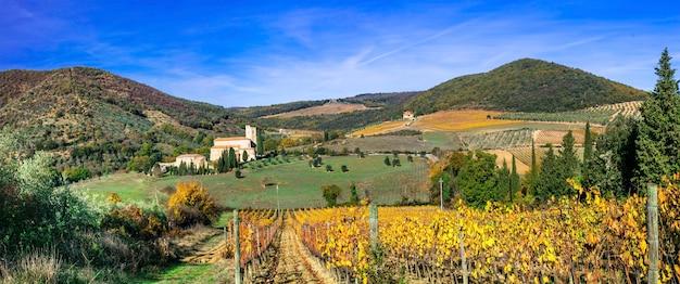 Paesaggi della toscana - abbazia di sant'antimo e vigneti, italia. paesaggio autunnale.