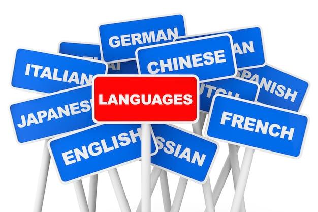 Segni della bandiera delle lingue su sfondo bianco