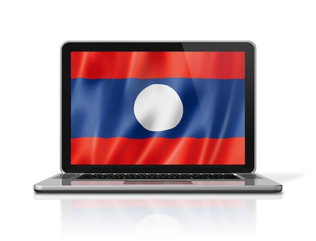 Bandiera del laos sullo schermo del computer portatile isolato su bianco. rendering di illustrazione 3d.