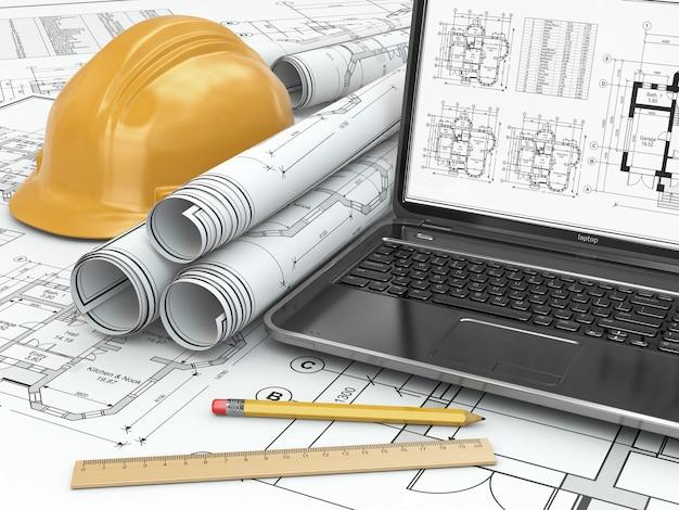 Computer portatile e progetto con progetto di casa. 3d
