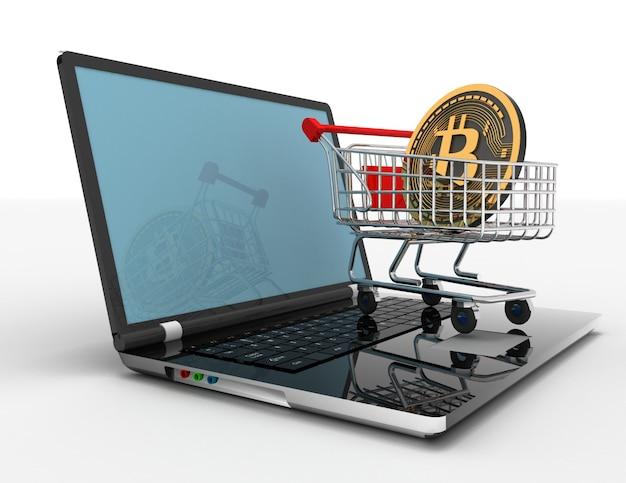 Carrello del computer portatile bitcoin. illustrazione 3d