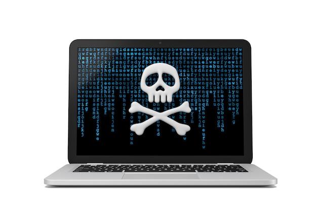 Illustrazione 3d di concetto di criminalità informatica del computer portatile