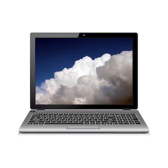 Computer portatile isolato con nuvole sullo schermo