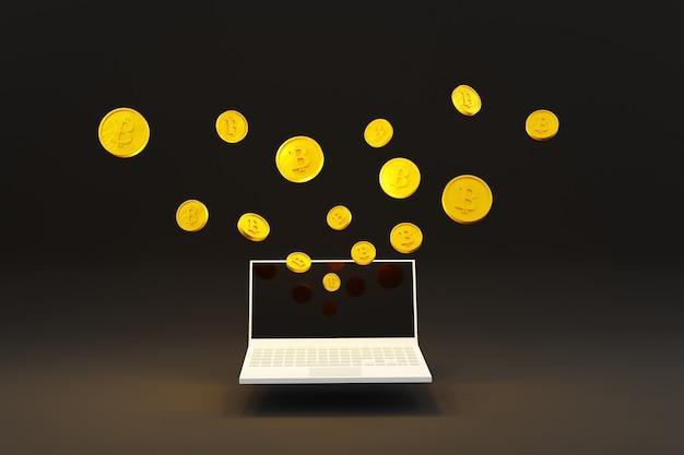 Computer portatile con denaro moneta bit concetto di finanza aziendale in sfondo scuro 3d illustration