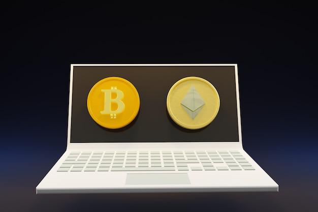 Computer portatile con bit moneta soldi nell'illustrazione 3d parete scura