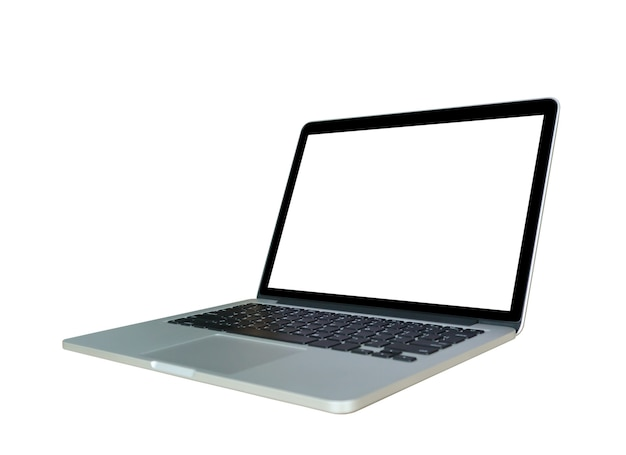 Computer portatile con schermo vuoto isolato su sfondo bianco