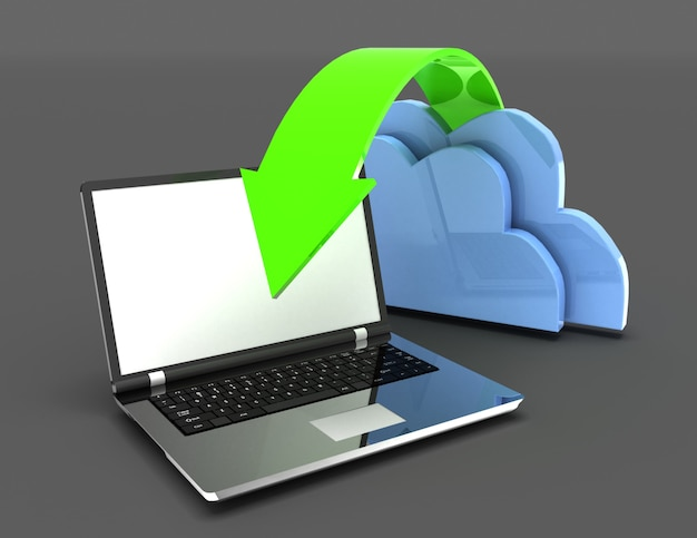 Computer portatile e nuvole informatiche. trasferimento del concetto di dati