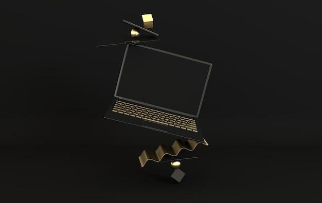 Laptop e diversi oggetti geometrici