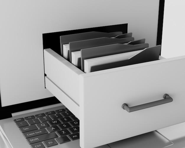 Laptop e file cabinet con cartelle. concetto di archiviazione dei dati. illustrazione 3d
