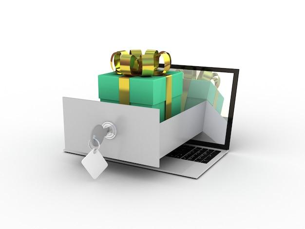 Computer portatile e regali su bianco