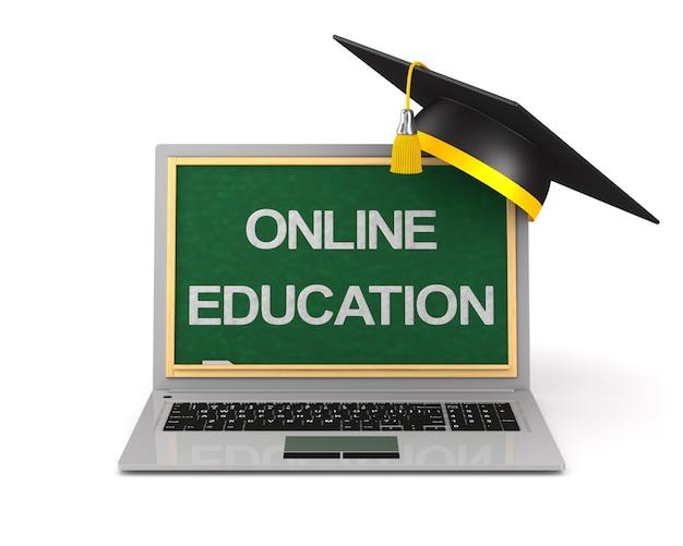 Laptop e tappo di laurea su sfondo bianco. illustrazione 3d isolata