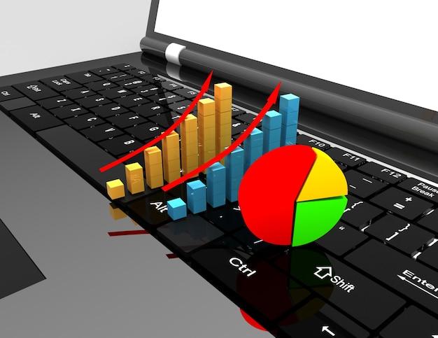 Computer portatile e grafico. concetto di business