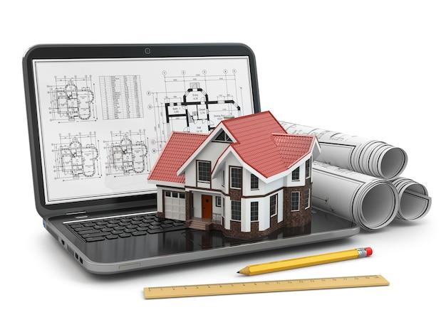 Computer portatile, casa e progetto con progetto. 3d