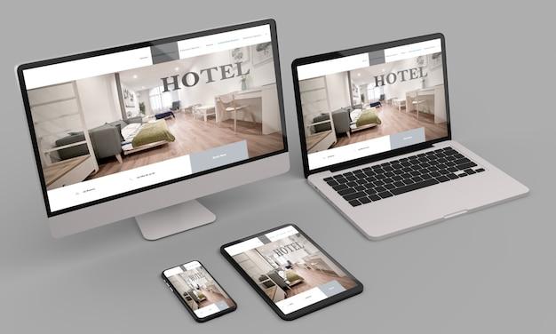 Computer portatile, mobile e tablet 3d rendering che mostra hotel responsive web design .3d illustrazione