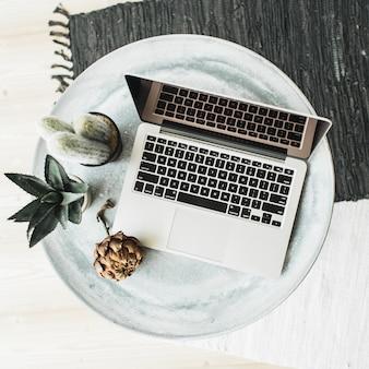 Computer portatile, fiore di protea e succulente sul vassoio. disposizione piatta, vista dall'alto