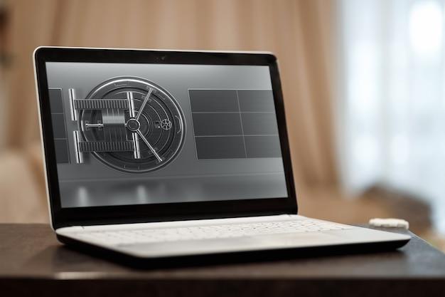 Concetto di protezione del computer portatile, sicurezza in internet