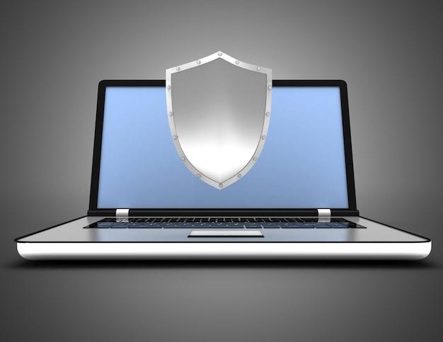 Concetto di sicurezza del computer portatile. illustrazione 3d