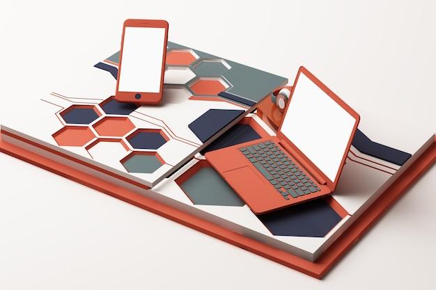 Laptop, smartphone e cuffie con composizione astratta di concetto di tecnologia di piattaforme di forme geometriche in colore arancione e blu. rendering 3d