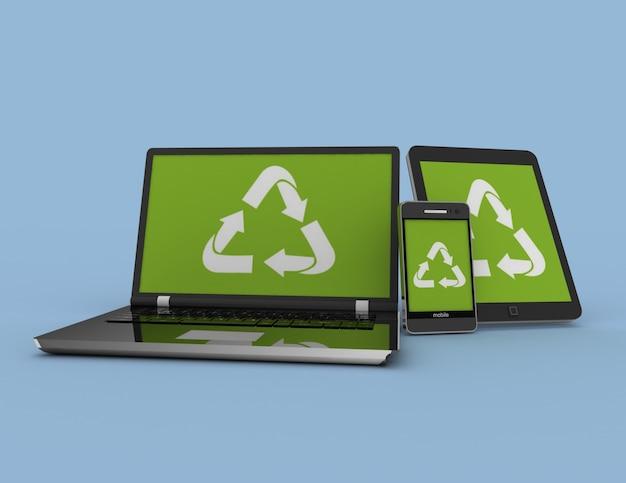 Smartphone portatile e tablet pc con segno di riciclo. 3d reso illustrazione