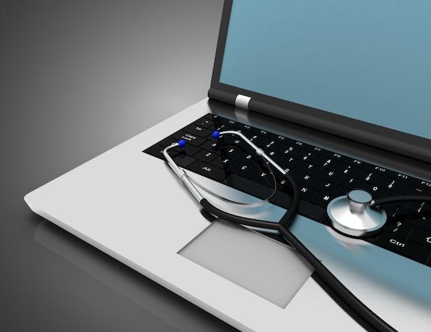 Computer portatile e stetoscopio. concetto di servizio di riparazione. illustrazione 3d