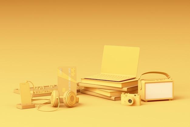 Computer portatile che circonda da gadget colorati su sfondo giallo. rendering 3d