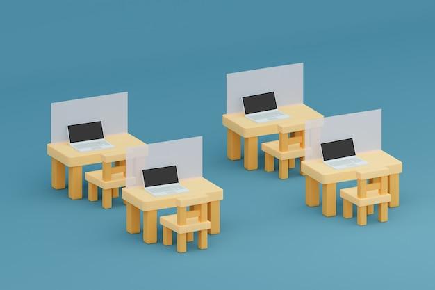 Computer portatile su tavolo e sedie con una partizione per lavorare nell'illustrazione 3d dell'ufficio