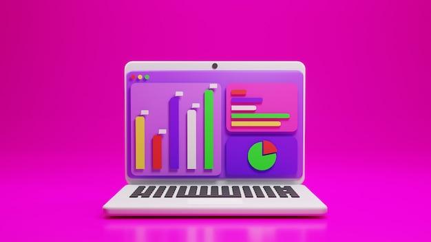 Computer portatile con applicazione analitica e grafico a icone in design 3d