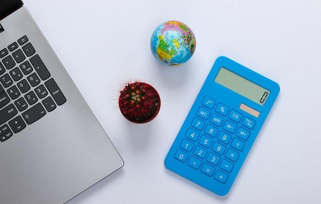 Computer portatile con cactus, calcolatrice, globo su un bianco. area di lavoro minimalista