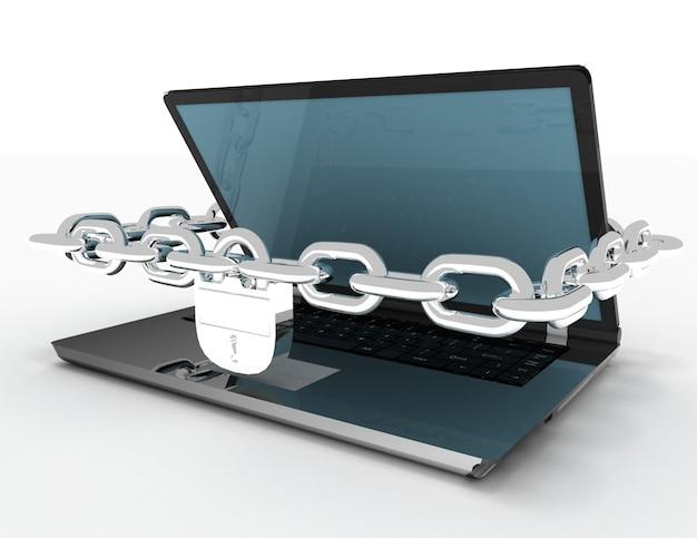 Computer portatile con catene e blocco su sfondo bianco isolato. 3d