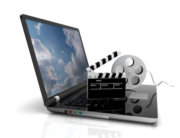 Computer portatile con bobina di pellicola. illustrazione 3d