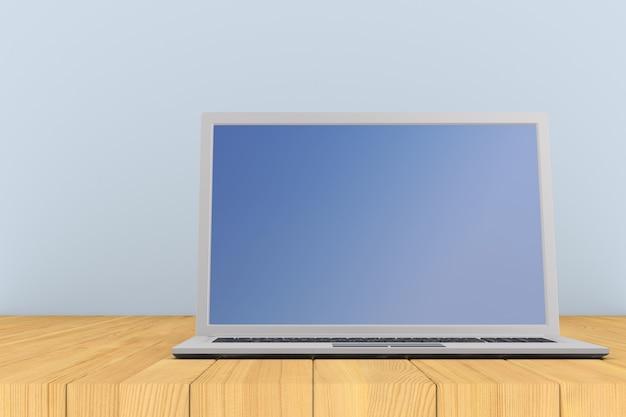 Computer portatile su superficie di legno. illustrazione 3d
