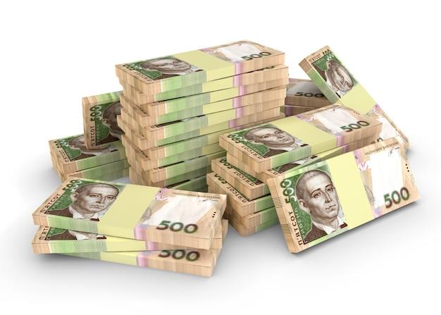 Una grande quantità di grivna di denaro ucraino