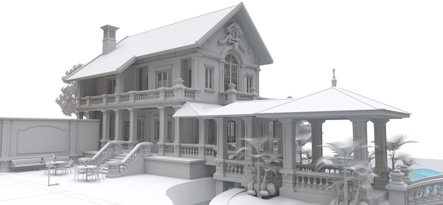 Grande villa in stile asiatico con giardino, piscina e campo da tennis. l'edificio e il territorio in linee di contorno con morbide ombre sparse. illustrazione 3d