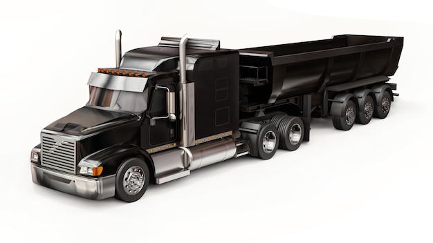 Grande camion americano nero con un autocarro con cassone ribaltabile tipo rimorchio per il trasporto di merci alla rinfusa su uno sfondo bianco. illustrazione 3d.