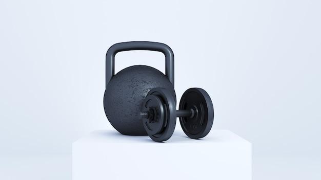 Un grande peso nero su un podio bianco.