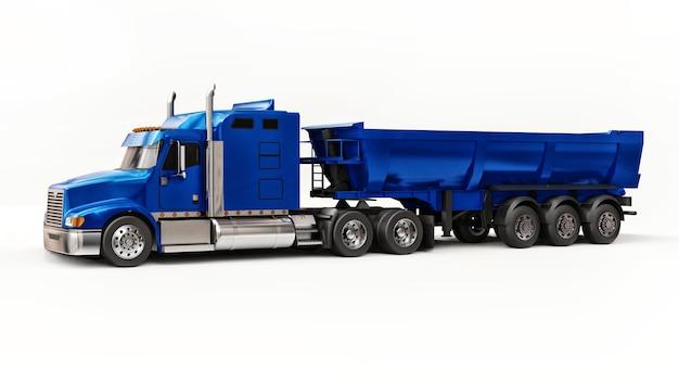 Grande camion americano blu con un autocarro con cassone ribaltabile tipo rimorchio per il trasporto di merci alla rinfusa su sfondo bianco. illustrazione 3d.