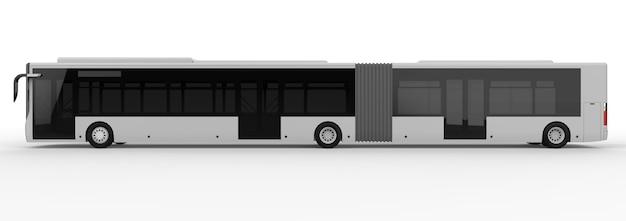 Un grande autobus urbano con una parte allungata aggiuntiva per una grande capacità di passeggeri durante le ore di punta o il trasporto di persone in aree densamente popolate