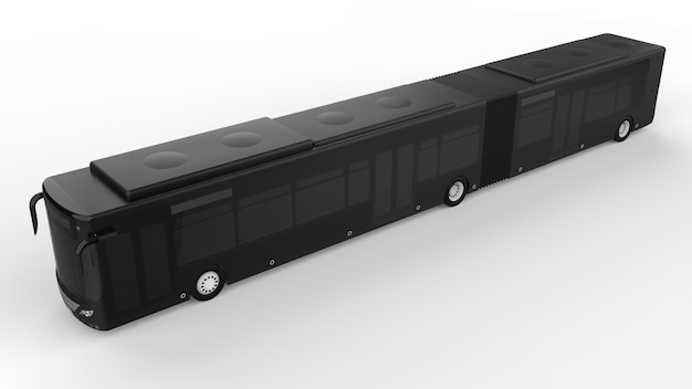 Grande autobus urbano con una parte allungata aggiuntiva per una grande capacità di passeggeri