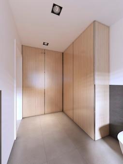 Ampio ripostiglio in bagno con ante in legno a soffitto. rendering 3d