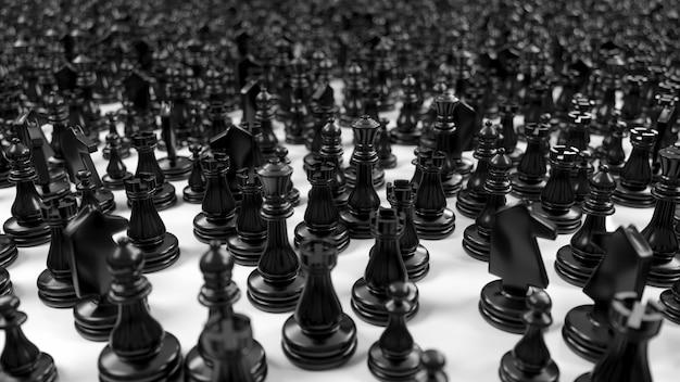 Grande folla di pezzi degli scacchi neri nell'illustrazione 3d