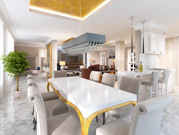 Grande tavolo da pranzo per otto in stile art déco. scrivania bianca con gambe dorate e sedie in morbido tessuto beige. rendering 3d.