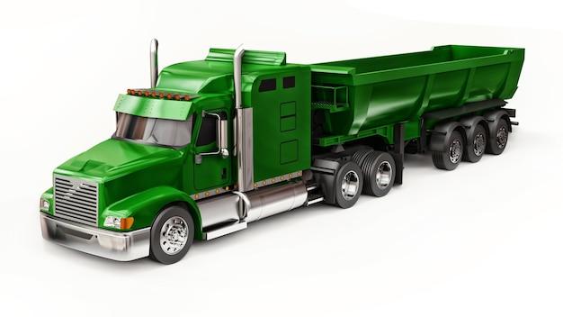 Grande camion americano verde con un autocarro con cassone ribaltabile tipo rimorchio per il trasporto di merci alla rinfusa su sfondo bianco. illustrazione 3d.