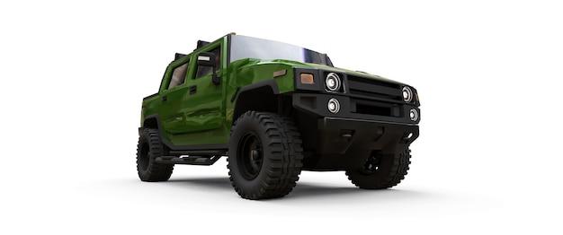 Grande camioncino fuoristrada verde per campagna o spedizioni su sfondo bianco isolato