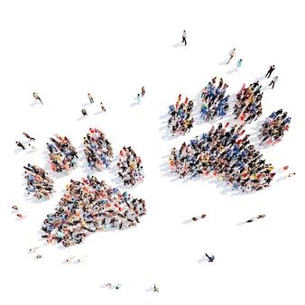 Folto gruppo di persone sotto forma di tracce di animali sfondo bianco isolato