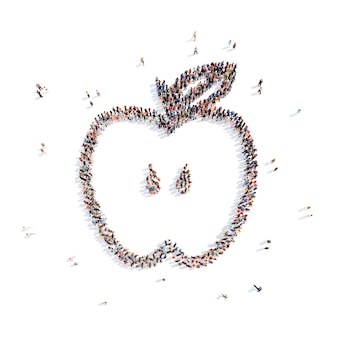 Un folto gruppo di persone sotto forma di una mela isolato sfondo bianco