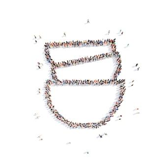 Folto gruppo di persone in forma di tazze isolato sfondo bianco