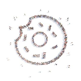 Grande gruppo di persone sotto forma di una ciambella isolato sfondo bianco