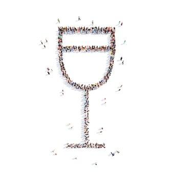 Grande gruppo di persone sotto forma di un bicchiere d'acqua sfondo bianco isolato