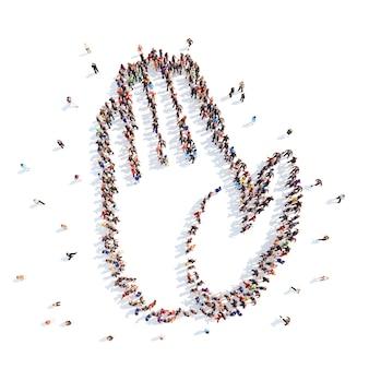 Un folto gruppo di persone sotto forma di una mano