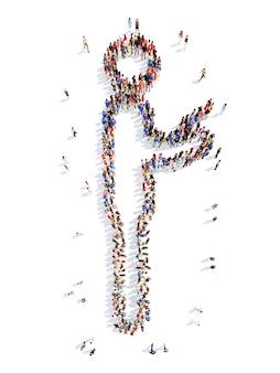 Un folto gruppo di persone sotto forma di un uomo isolato su bianco